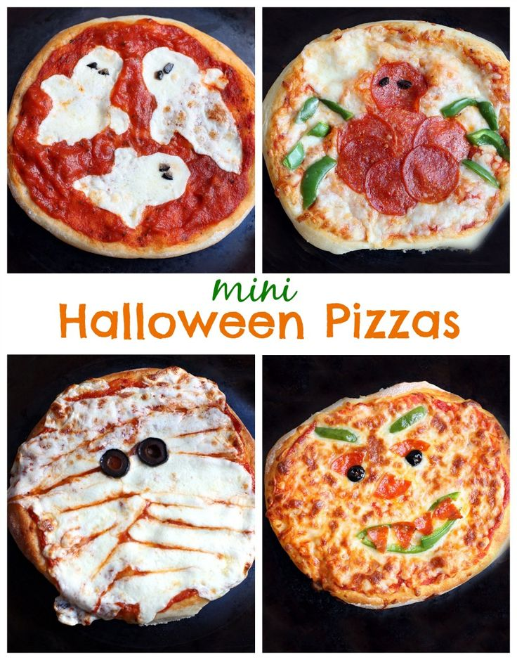 Mini Halloween Pizzas perfect for family night! Plus an amazing No-Rise pizza crust recipe! On MyRecipeMagic.com #pizza #halloween