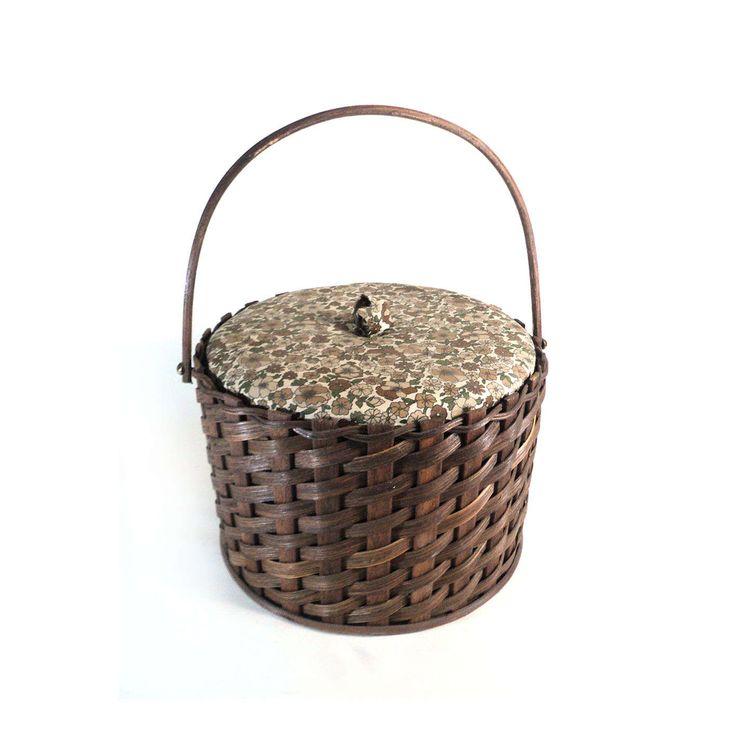 French Round Brown Liberty Wicker Sewing Storage Box Basket