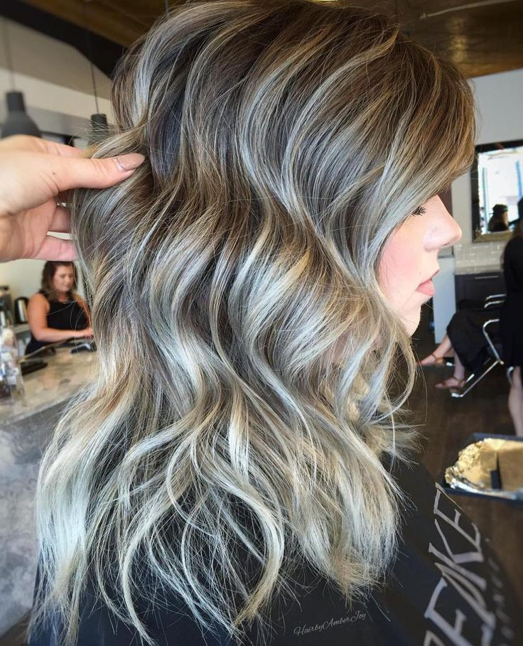 Long Layered Brunette Hair with Silver Ends | Hair Envy in ...
