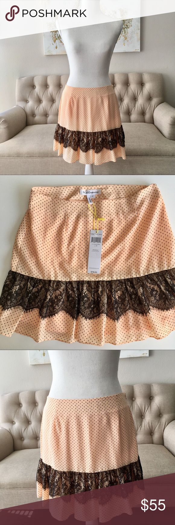 BNWT BCBGENERATION Soft Peach Skirt w/ Black Lace Brand new with tags BCBG Generation peach skirt with little black triangle pattern, and black lace trim. Very cute and boudoir chic. Very soft and delicate skirt with side zipper. Size 4. Original price $78. BCBGeneration Skirts