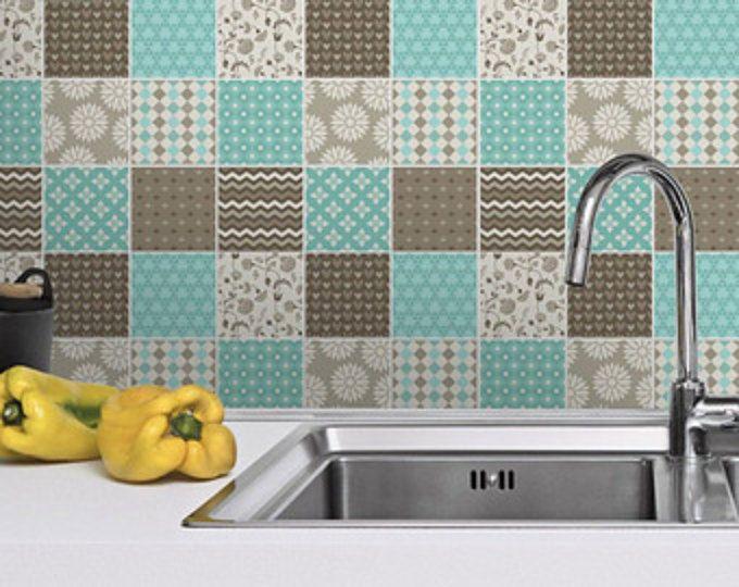 Tuiles Autocollants Brun et bleu - Stickers Tuiles - Tuiles pour la cuisine dosseret pour salle de bain - PACK DE 36 - SKU: BBPatchST