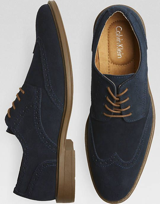 Calvin Klein Navy Suede Wing-Tip Shoes - mens casual shoes, mens leather shoes, mens saddle shoes