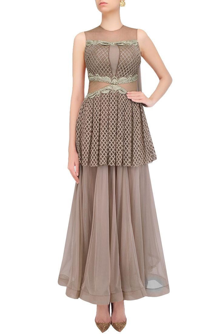 Nude floral embroidered checkered peplum anarkali available only at Pernia's Pop Up Shop.
