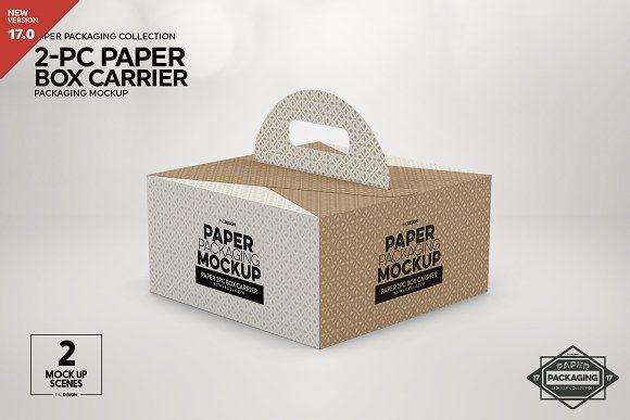 Download 2pc Paperbox Carrier Packagingmockup In 2020 Packaging Mockup Design Mockup Free Free Packaging Mockup