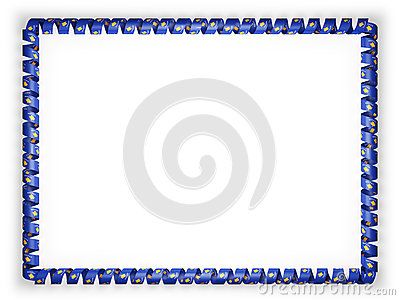 Frame and border of ribbon with the Kosovo flag. 3d illustration.