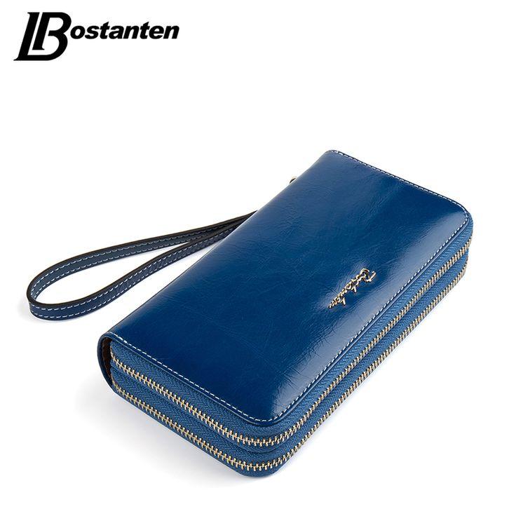 BOSTANTEN Cow Genuine Leather Women Wallet Long Double Zipper Purse Luxury Brand Coin Wallet female Designer Money Bag Wristlet