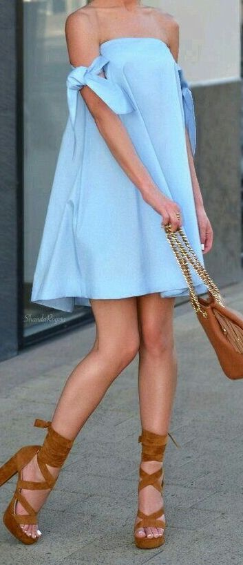#summer #outfits / baby blue off the shoulder dress