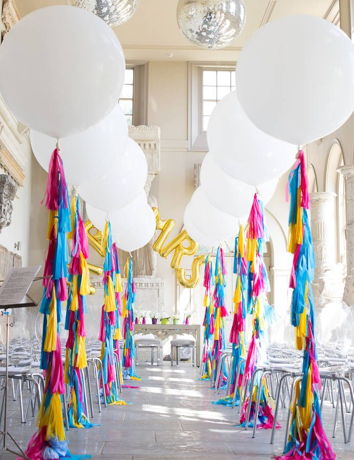 Bespoke Giant Balloon With Tassel Tail. You design the balloon to fit your perfect occasion, select the colours for your tassel tail using the image of the tissue paper colours available and let us know what balloon colour you would like to go with this.