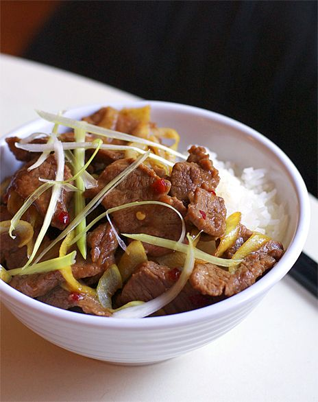 Mongolian Beef. I made 2 changes, I only used 1/2t of the Sambal Oelek (& I highly recommend you start there and then add to your taste as is spicy stuff) and I used brown sugar although the recipe only called for sugar. Served it with snow peas, mushrooms and white rice! YUM!!