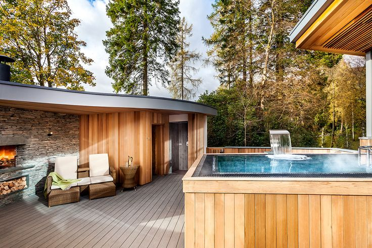 Finnish sauna with outdoor relaxing area and heated pool - Brimstone hotel, luxury boutique hotel and spa in the Lake District. Beautiful interior designs and services feature on the www.martynwhitedesigns.com blog