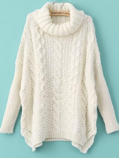 Fall Fashion White Long Sleeve Turtleneck Chunky Cable Knit Sweater