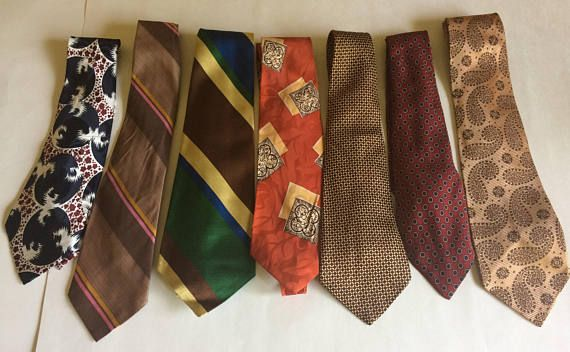 Lot of 7 Vintage Ties from the 1930s 1940s Varying Patterns