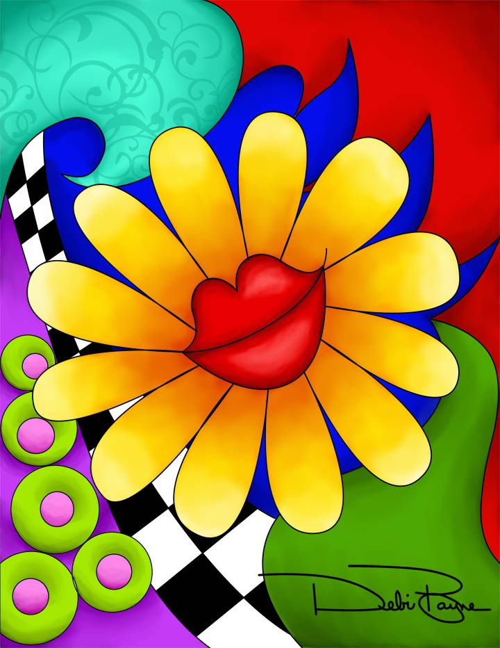 """Flower Lips"" - with background - by Debi Payne of Debi Payne Designs"