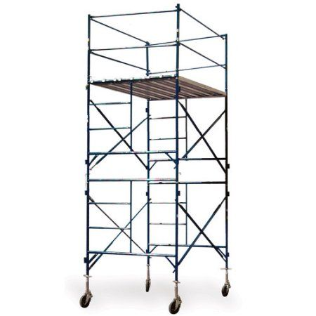 Buffalo Tools 2-Story Rolling Scaffold Tower, Blue