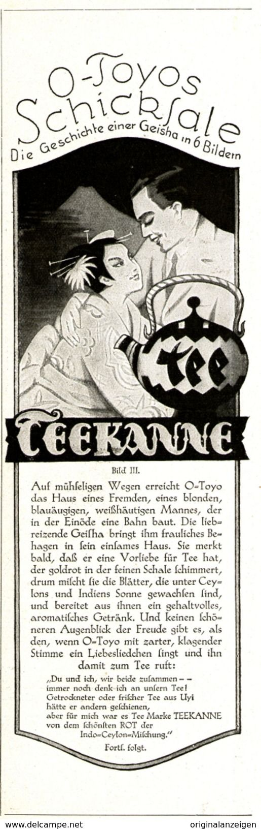 Werbung - Original-Werbung/Anzeige 1926 - TEEKANNE TEE - ca. 65 x 220 mm