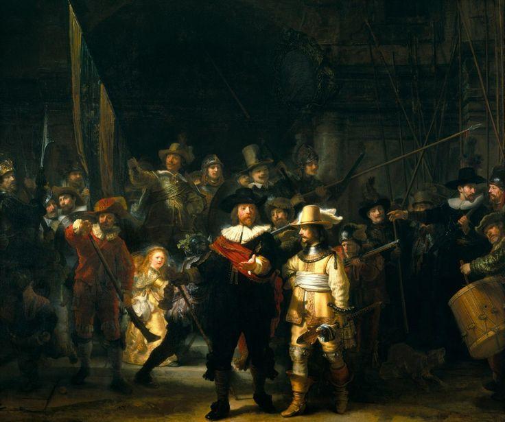 Рембрандт «Ночной дозор» (1642).   Холст, масло. 363 × 437 см.   Государственный музей, Амстердам, Голландия