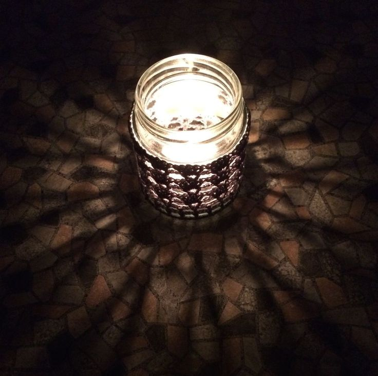 Handmade Crocheted Tea Light Jar in Grey