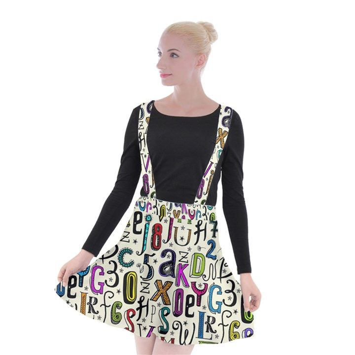 Colorful Retro Style Letters Numbers Stars Suspender Skater Skirt