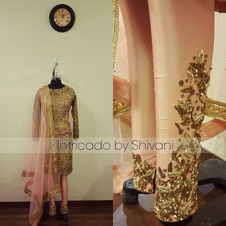 Gorgeous ornate details in such a beautiful color combo by Intracado by Shivani.