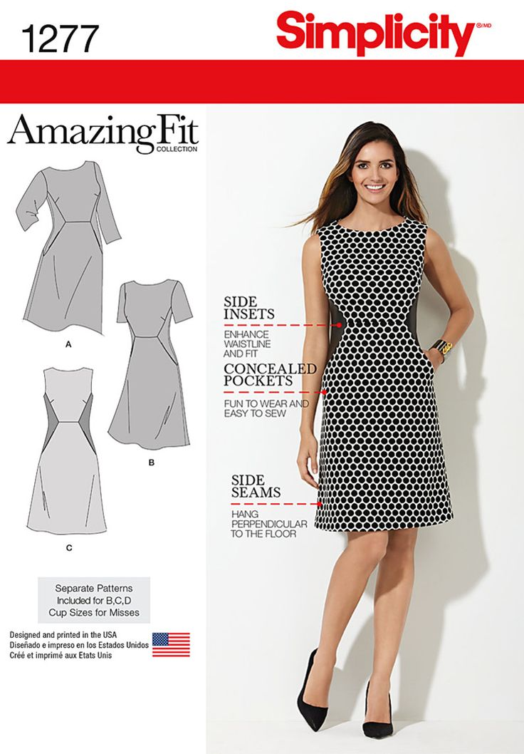 We've done the fitting for you – with customized pattern pieces designed to fit your shape! Misses' & Plus Size Amazing Fit dress features side insets to enhance waistline and fit, and concealed pockets. Sew the look with Simplicity Pattern 1277.