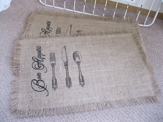 Set of 4 or set of 2 'Bon appetit vintage by BrambleWoodANDivy