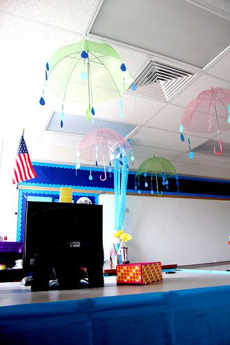 Love the idea of hanging umbrellas over a particular station in the classroom...