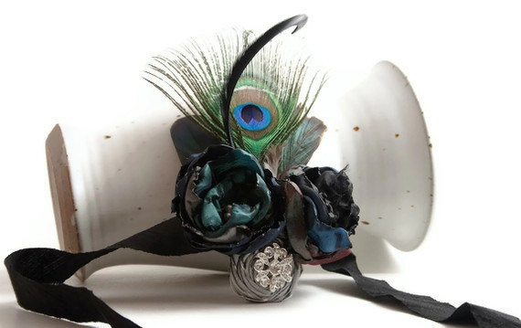 Peacock Wrist Corsage In Your Wedding Colors - Made To Order. $39.69, via Etsy.