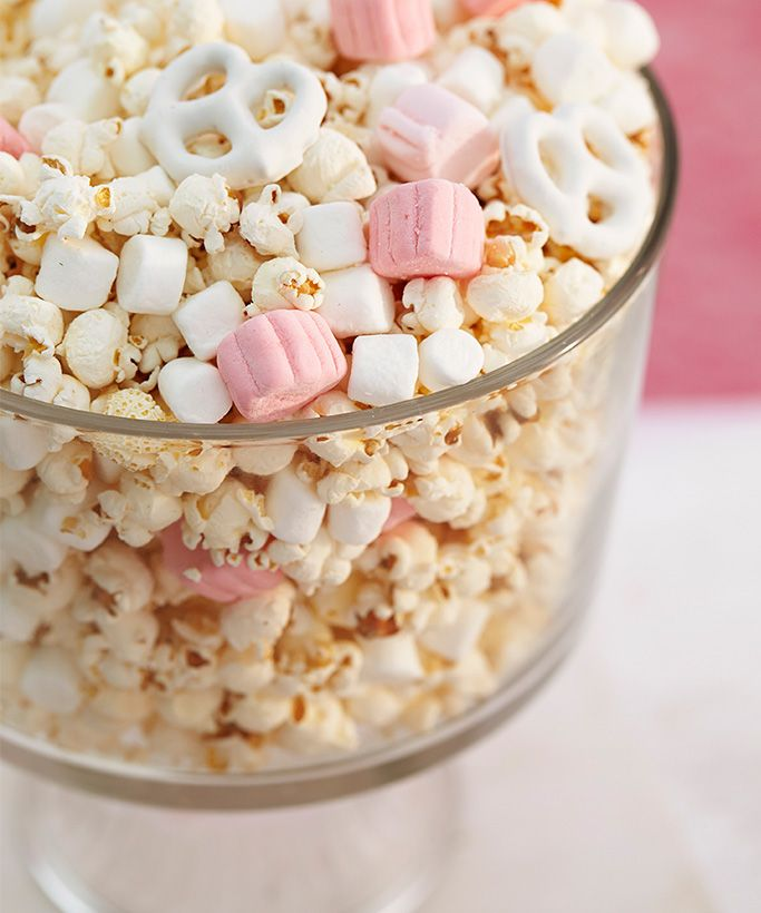 Marshmallows, chocolate pretzels and popcorn.