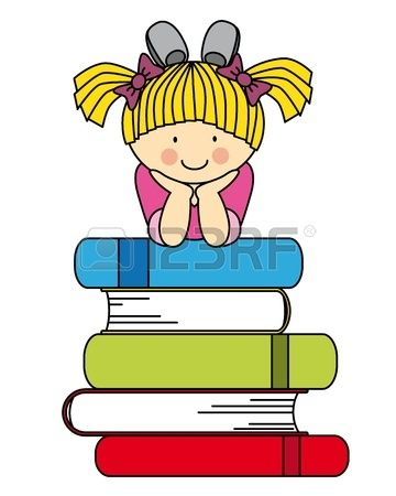 Little girl with many books. fun illustration of back to school