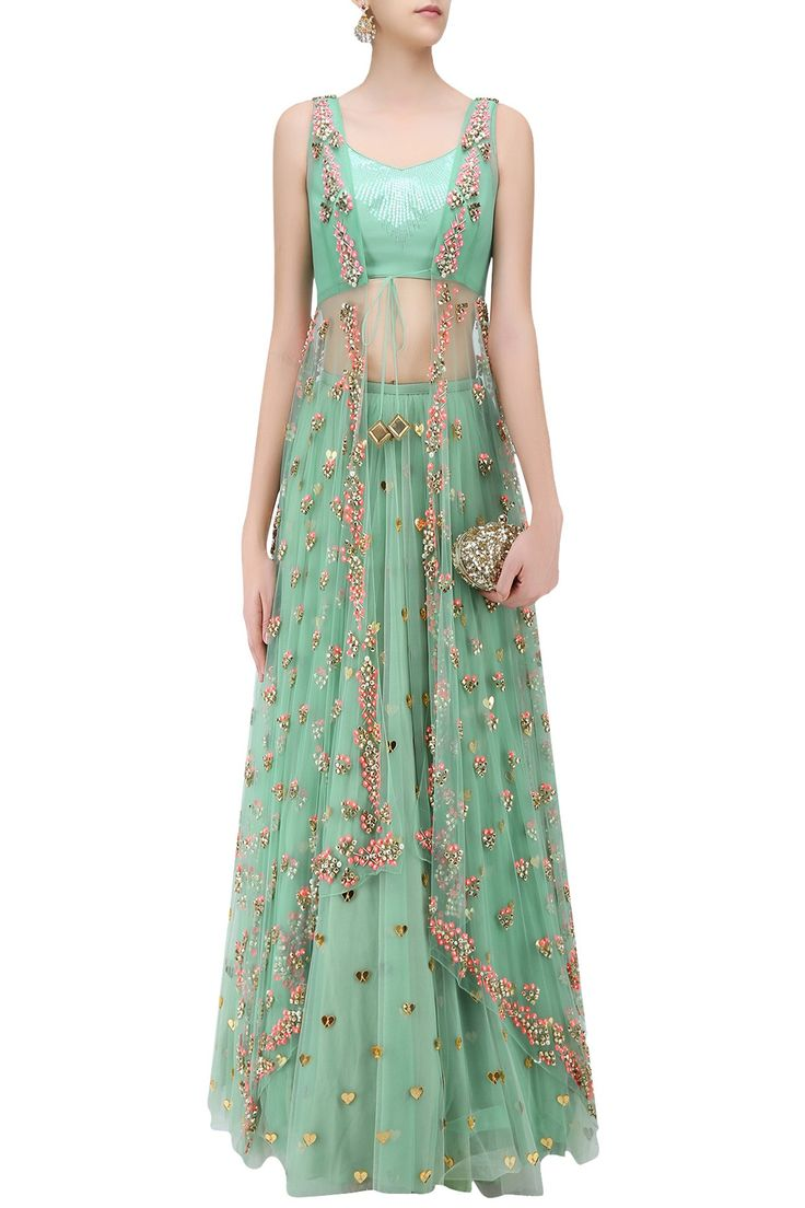 Jade green lasercut acrylic motifs lehenga and jacket set available only at Pernia's Pop Up Shop.