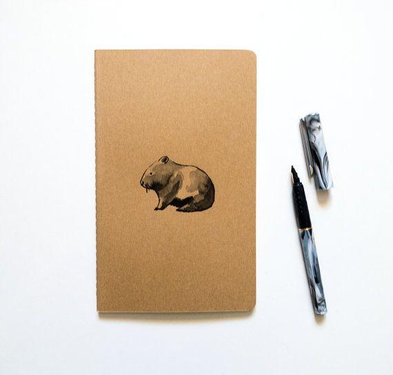 Moleskine Journal: Wombat, Hand illustriert - Blank oder ausgekleidet