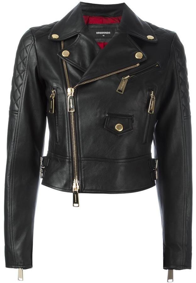 Dsquared2 quilted detail biker jacket https://api ...