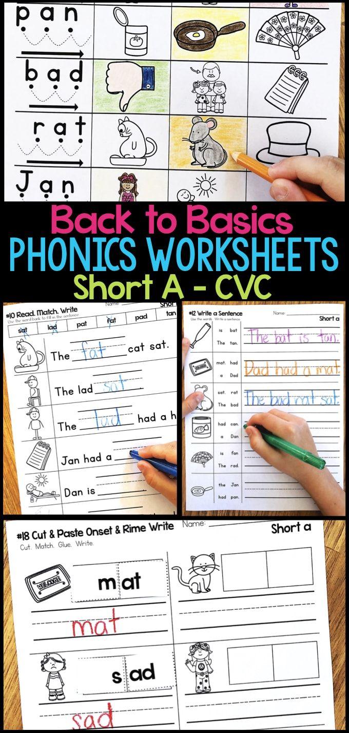 Short A Phonics Worksheets Short A Cvc Words Phonics Worksheets Phonics Kindergarten Word Work Centers [ 1428 x 680 Pixel ]