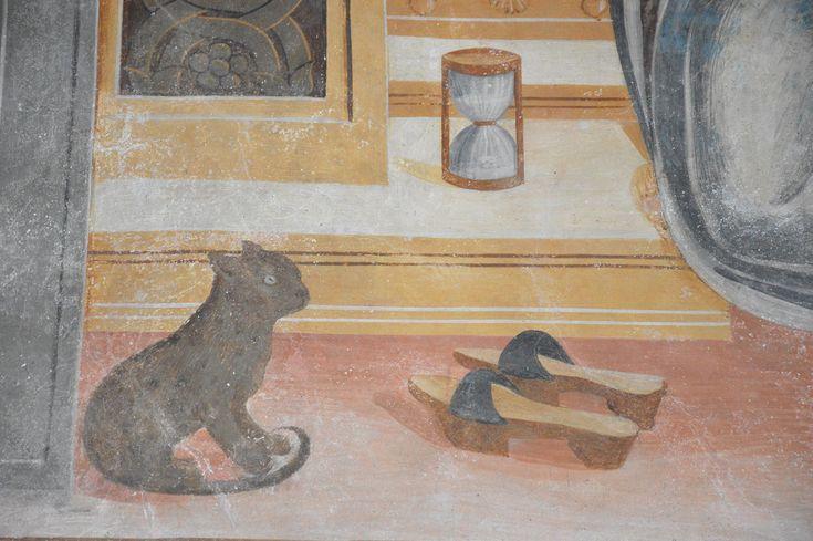 ANNUNCIAZIONE (dettaglio) affresco di Giovan Pietro da Cemmo, 1491-1493 Santa Maria Assunta, Esine (Valcamonica, BS)