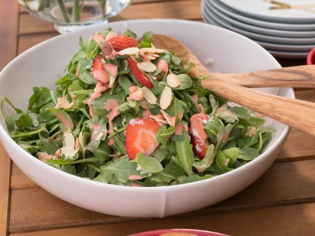 Strawberry Salad Recipe -- New version of a Strawberry Salad to try.  Giada serves this w/ the Orange Grilled Shrimp w/ Cocoa Nib Gremolata (see Dinner), but it could also be delicious for a lunch w/ grilled or roast chicken!