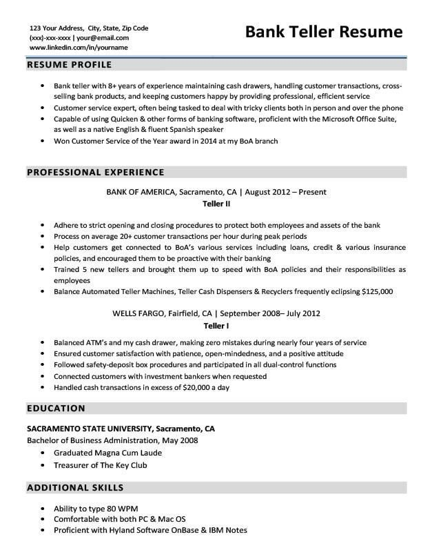 Resume For Bank Tellers Excellent Bank Teller Resume Sample