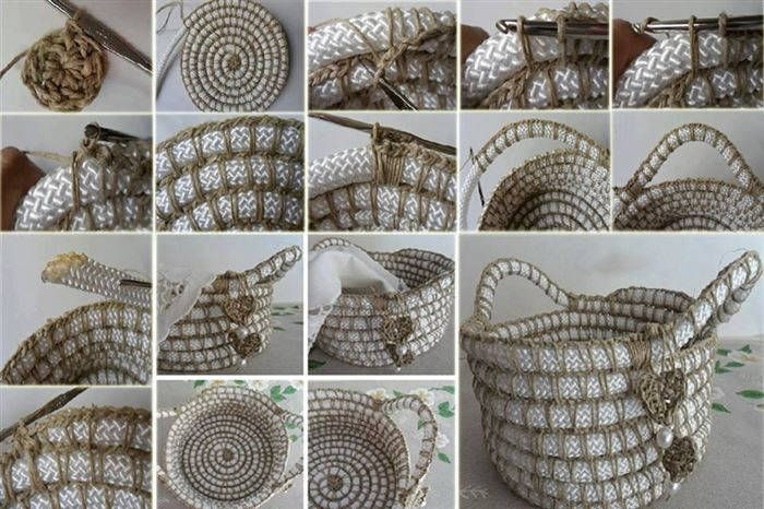 How to DIY crochet rope basket with free pattern