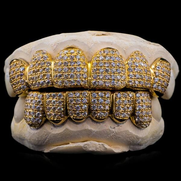 Custom Fit Solid Gold Natural Diamond Grillz Diamond Grillz Grillz Gold Grillz