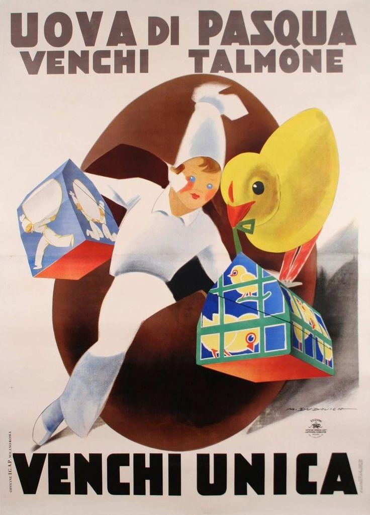 ✔️ Uova di Pasqua Talmone by Marcello Dudovich (1930's) Venchi Unica Torino
