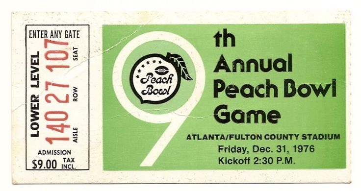 1976 Peach Bowl ticket stub Kentucky North Carolina....if you like this you can find many more college bowl game tickets for sale at.....www.everythingcollectibles.biz