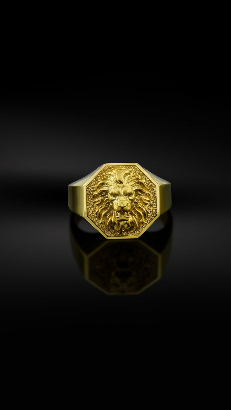 10k Solid Gold Lion Mens Ring Signet Lion Rings 18k Gold Etsy In 2020 Mens Gold Rings Mens Gold Jewelry Rings For Men