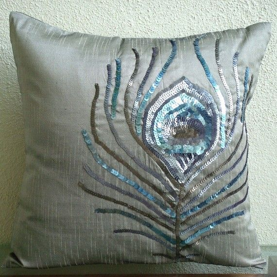 Peacock Feather - Throw Pillow Covers - 16x16 Inches Silk Pillow Cover with Sequin Embrodiery