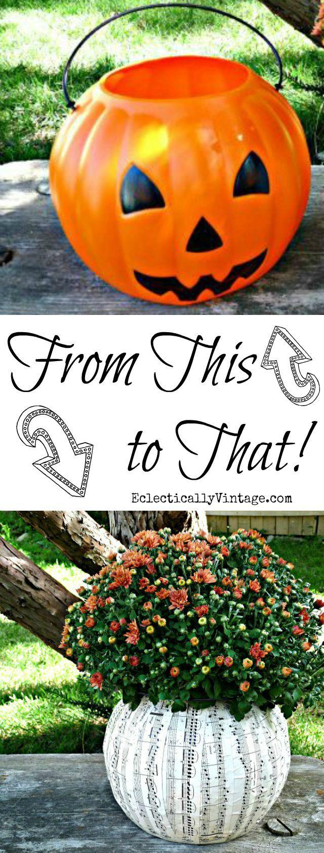 Plastic Pumpkin Ideas - turn an ugly plastic pumpkin pail into a fun planter - step by step directions plus more creative pumpkin ideas! eclecticallyvintage.com