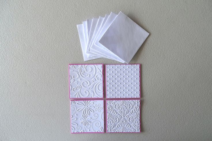 Pink and white embossed card note set of 8 - Bridal shower embossed mini card set - Thank you  mini note cards embossed - Baby shower card by prettypapernz on Etsy