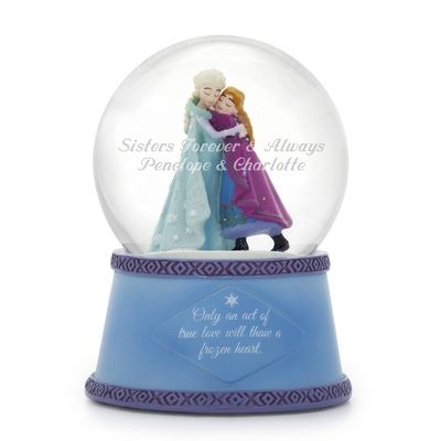 Our personalized Disney Frozen Singing Elsa and Anna Snow Globe shows us that only an Act of True Love will thaw a frozen heart. This musical snow globe plays a voice excerpt from the popular song 'Let It Go.' Engrave a special message or name on snow globe glass.  https://www.thingsremembered.com/disney-frozen-singing-elsa-and-anna-snow-globe/product/348197
