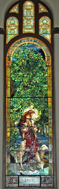 Tiffany Stained Glass window in St. Luke's United Methodist Church, Dubuque, Iowa.  This church own 94 stained glass panels, 93 are Tiffany.