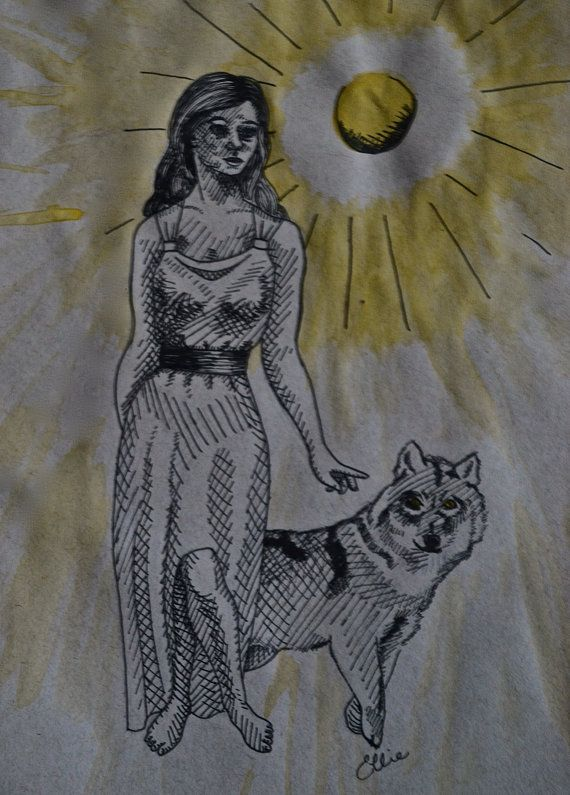 Artemis and the moon original ink drawing fine art Goddess of nature greek