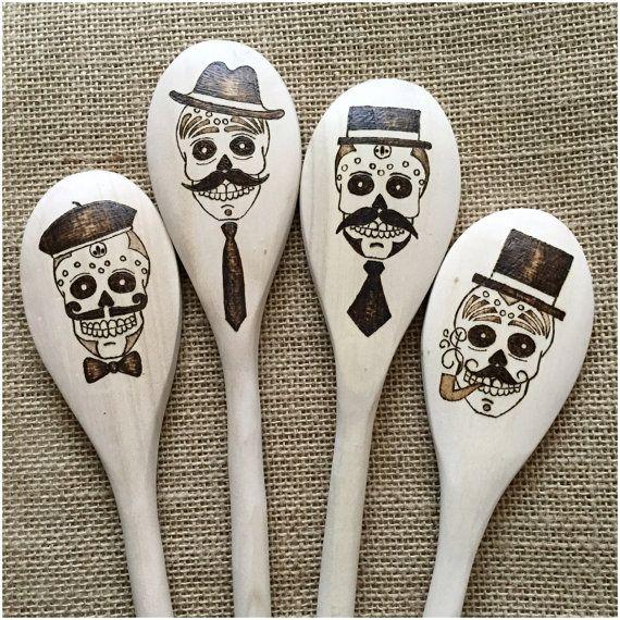 Custom Wood Burned Sugar Skull Spoons, The Gents, Series 5 (QRST), Dia de los Muertos, Day of the Dead,  Mustache, CHEF's GRADE, set of 4
