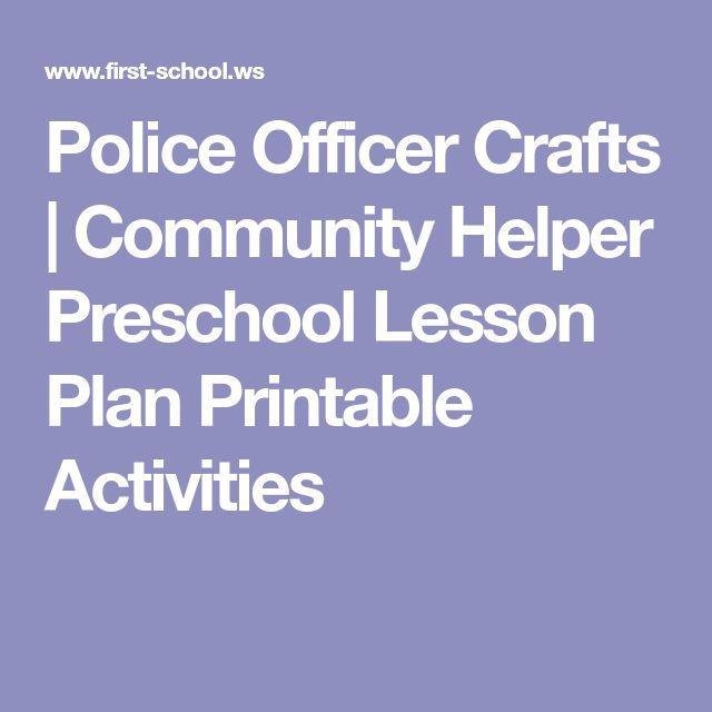 Police Officer Crafts   Community Helper Preschool Lesson Plan Printable Activities