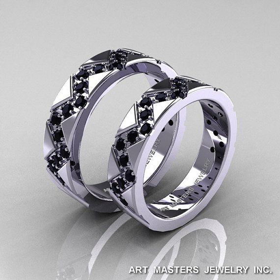 Classic Armenian 14K White Gold Black Diamond by artmasters, $1679.00